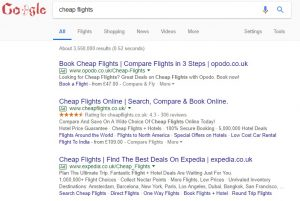 PPC advertising examples on Google