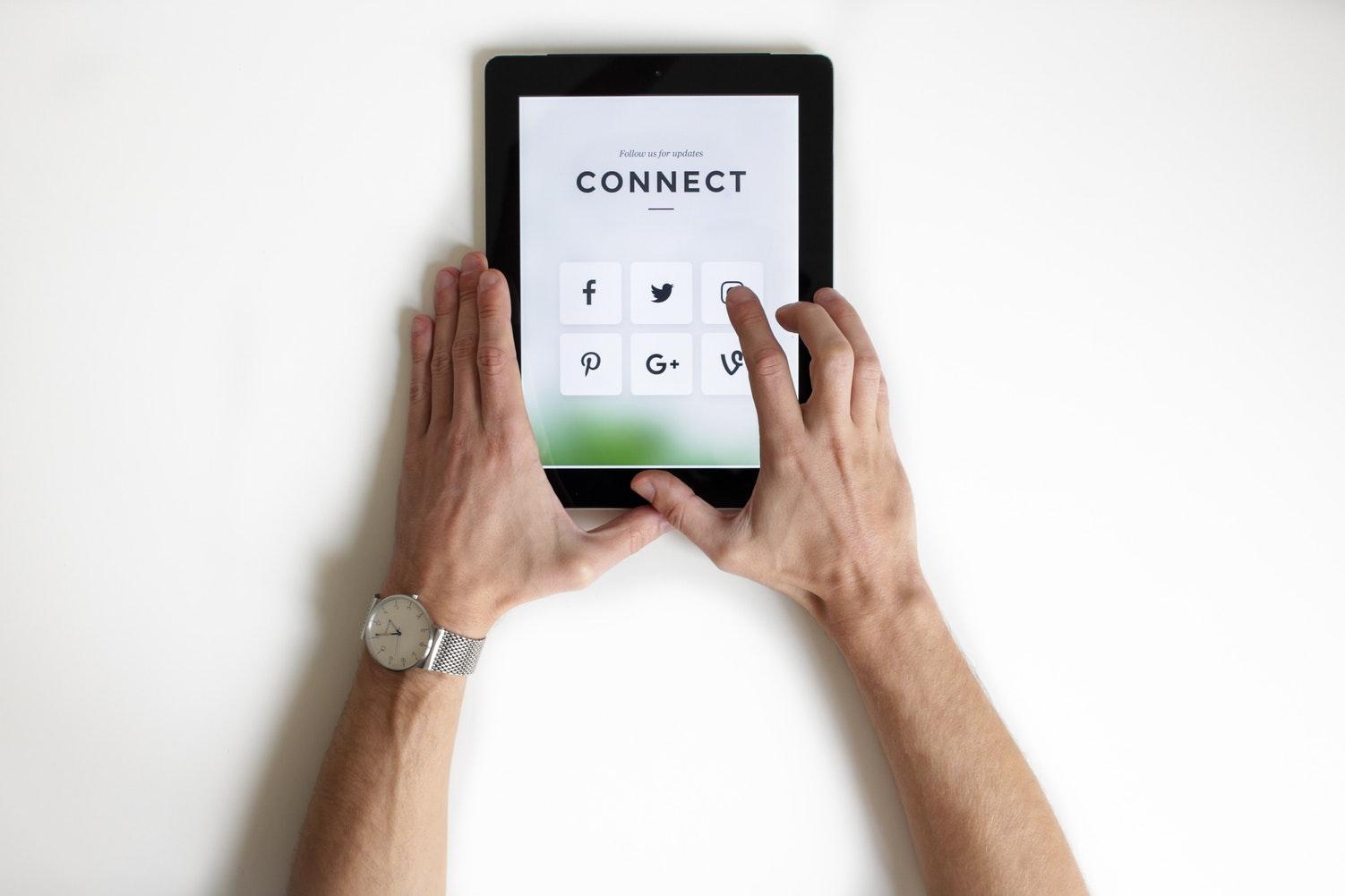 social media on tablet
