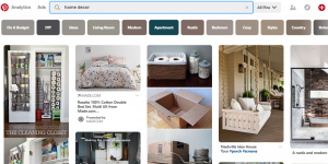 Home decor in Pinterest screenshot