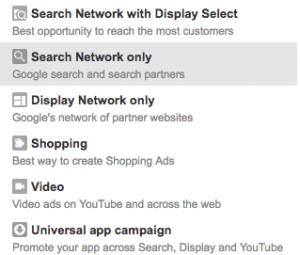 AdWords set up showing network options